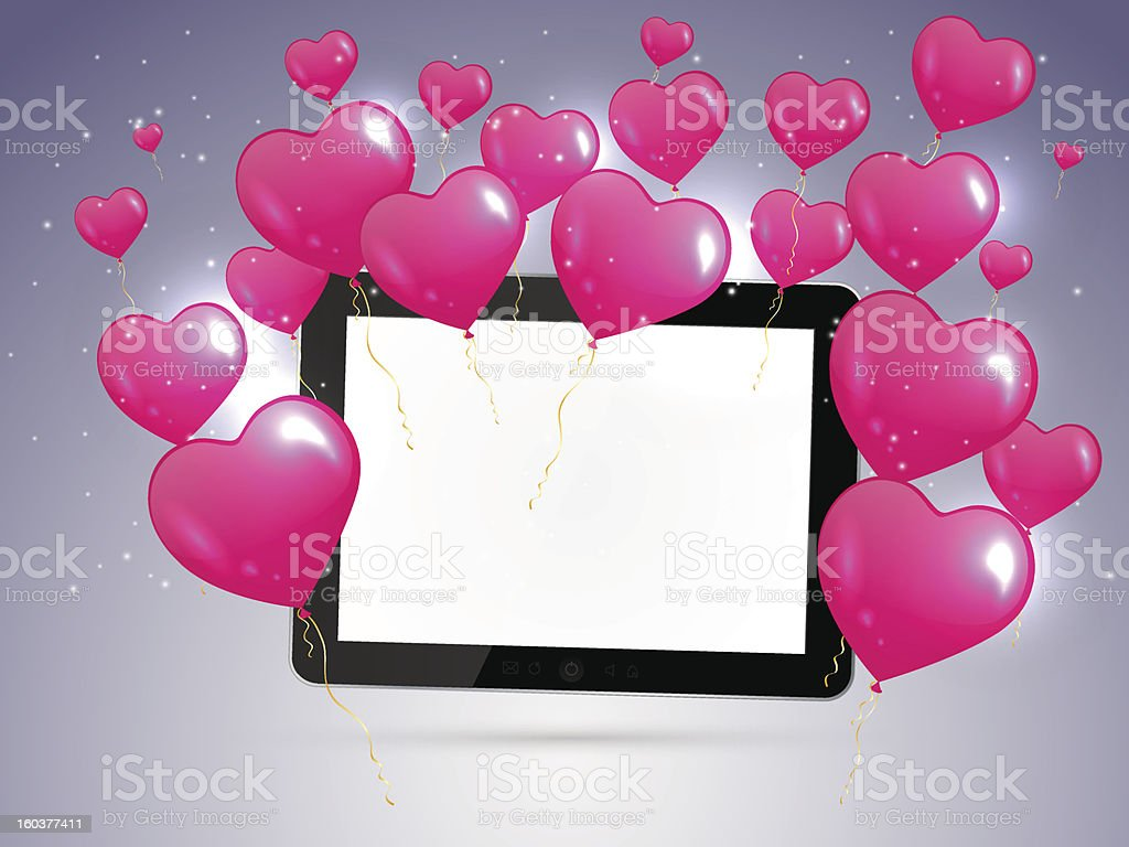 Tablet pc with hearts. royalty-free stock vector art