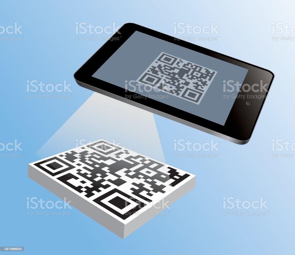 Tablet reading qr code vector art illustration