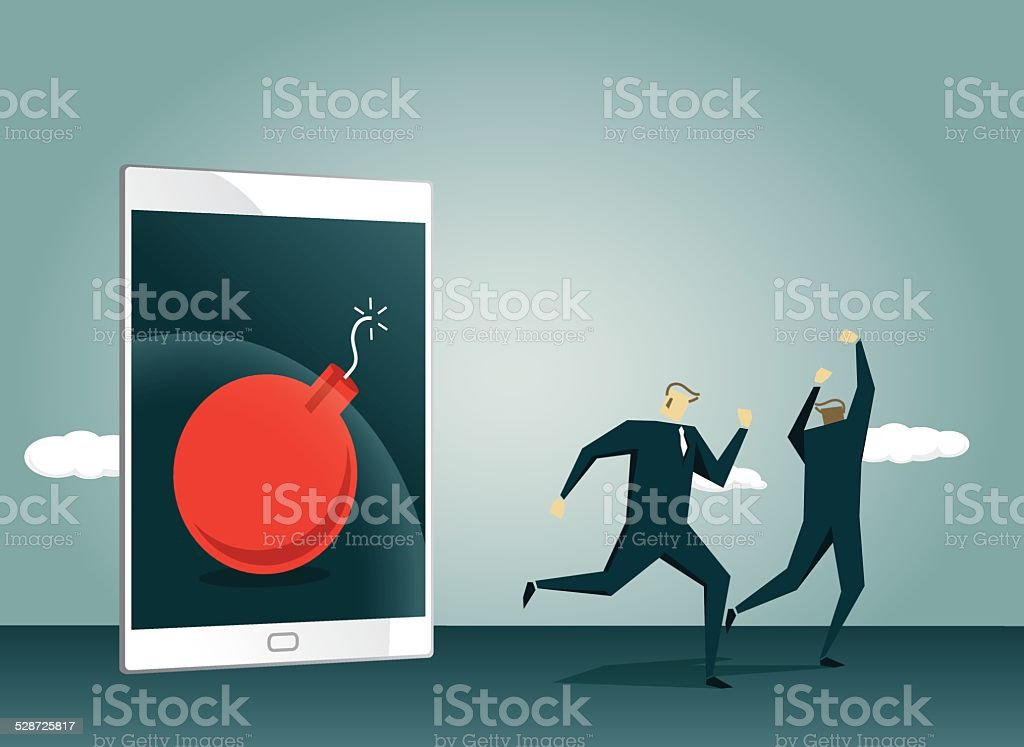 Tablet, Run Away,Tablet Computer,Time Bomb,Away,   Exploding vector art illustration