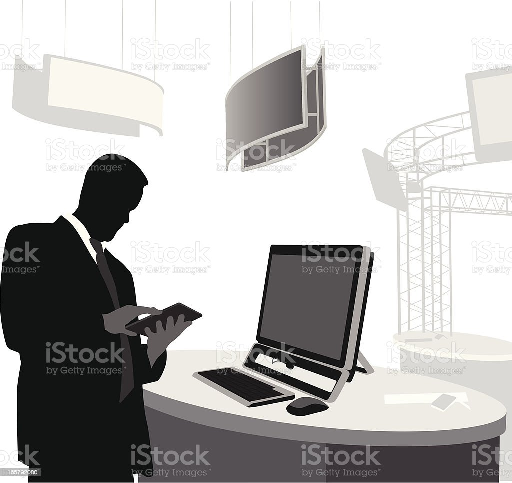 Tablet vs Desktop Vector Silhouette royalty-free stock vector art