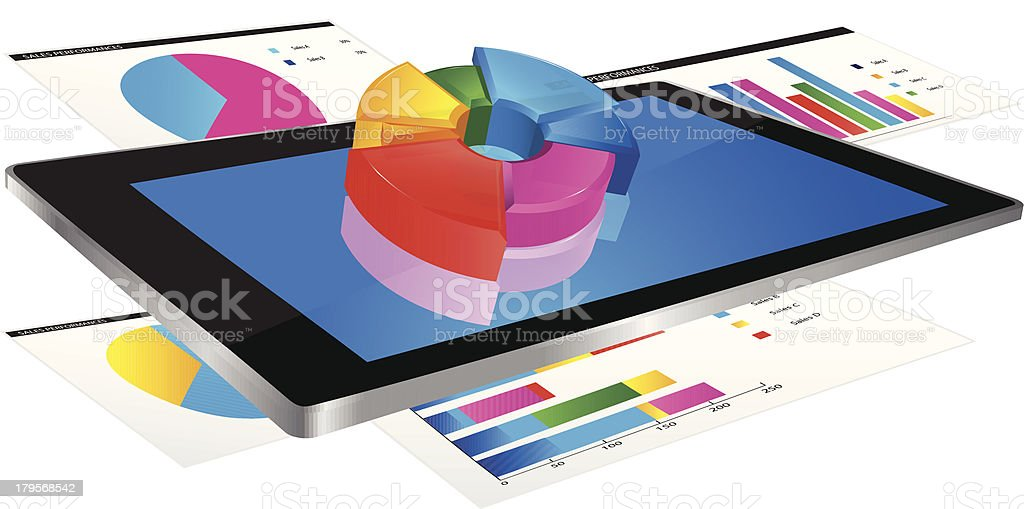 Tablet with 3d graph royalty-free stock vector art