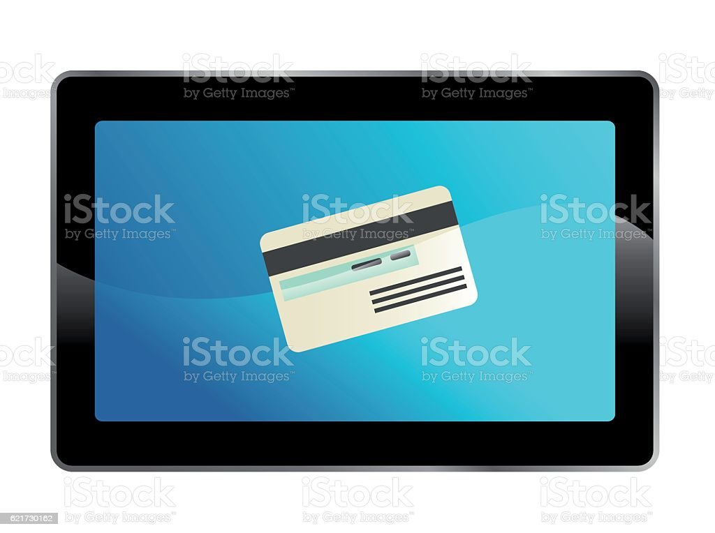 tablet with credit card vector art illustration
