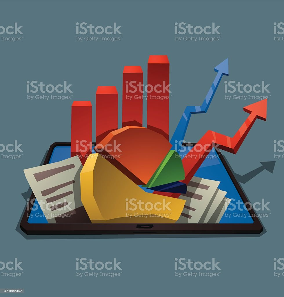 Tablet with graphs vector art illustration