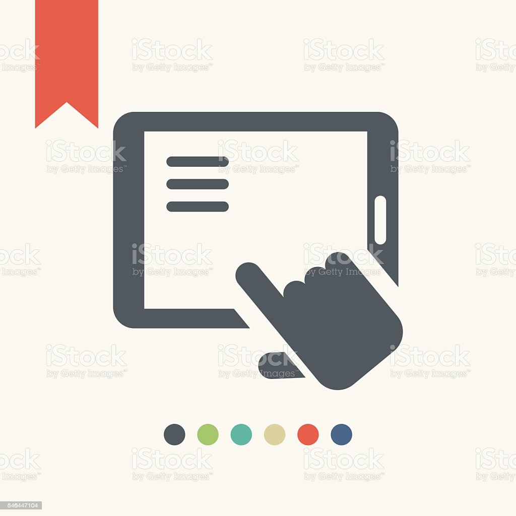 Tablet with hand icon vector art illustration