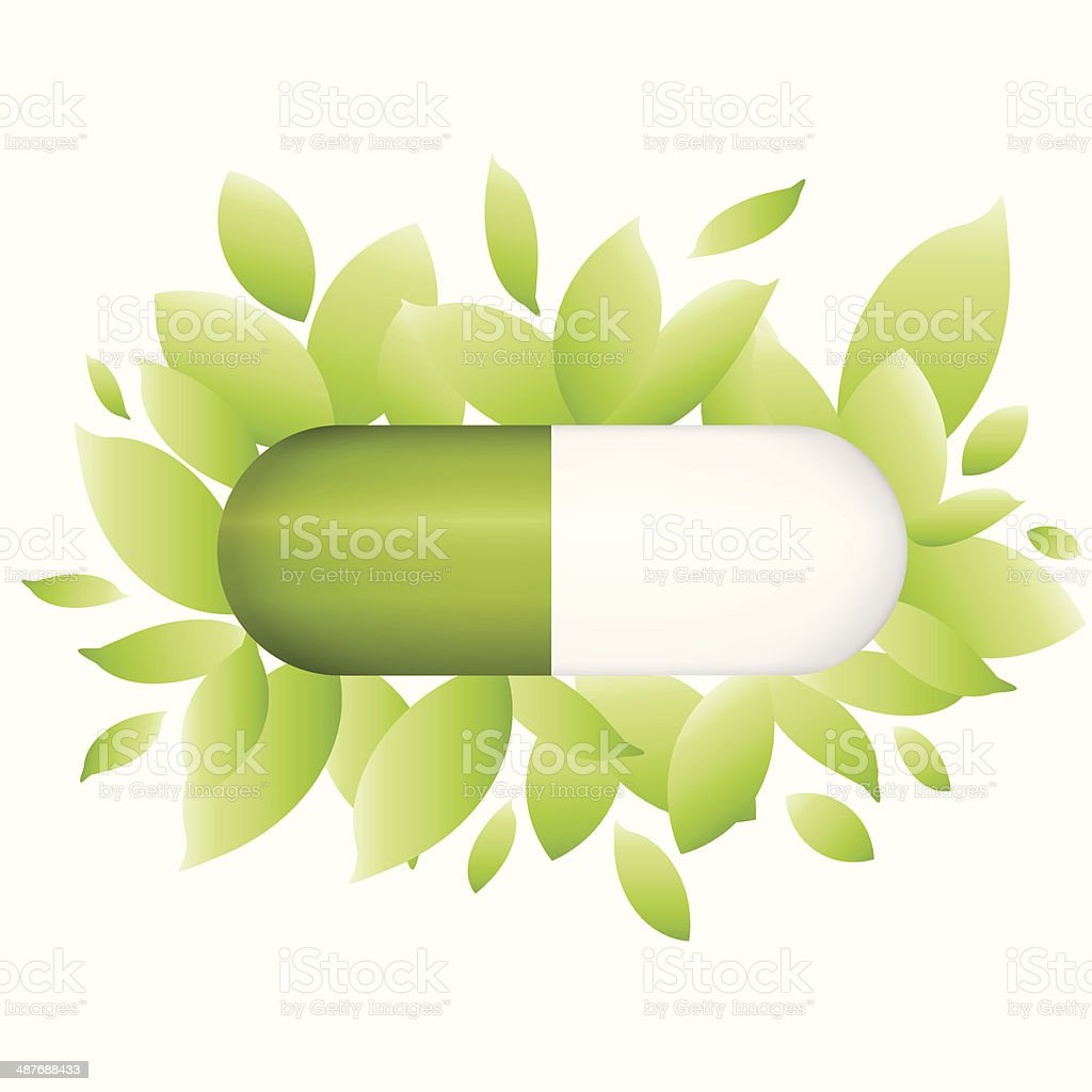 Tablet With Leaves, Isolated On White Background, Vector Illustr royalty-free stock vector art