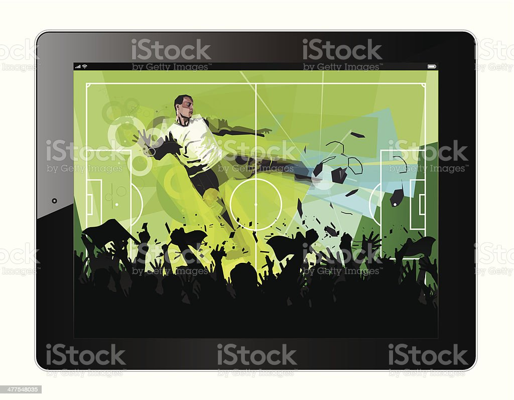 Tablet with soccer player vector art illustration
