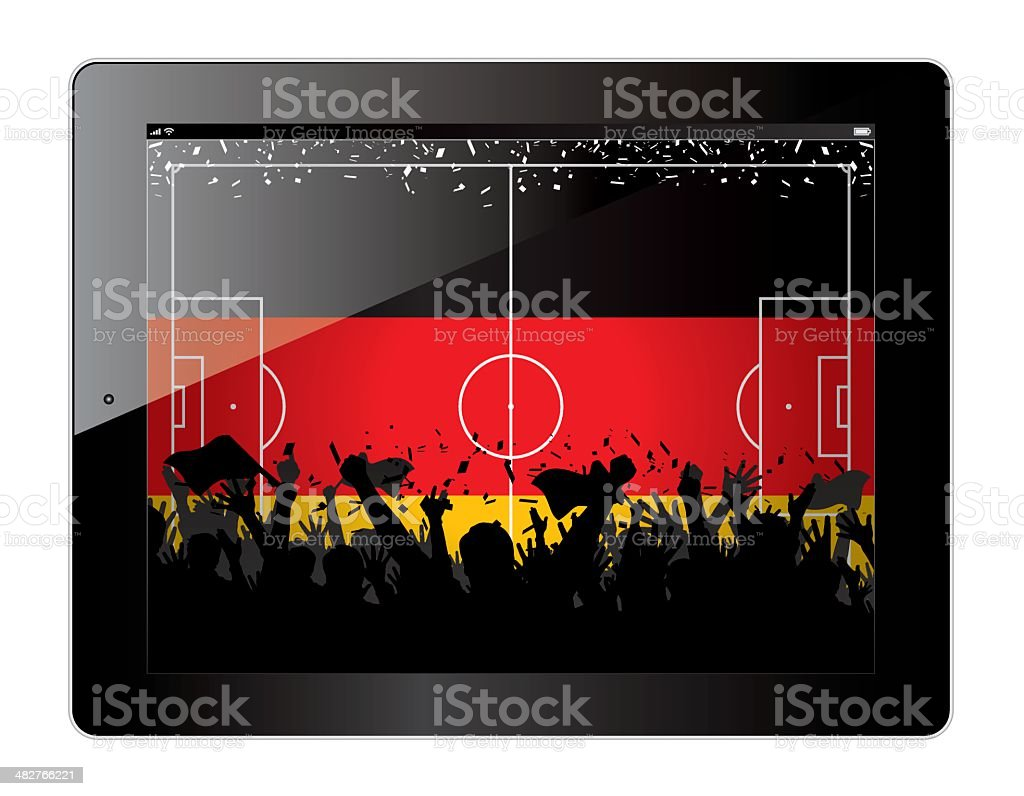 Tablet with soccer theme Germany royalty-free stock vector art