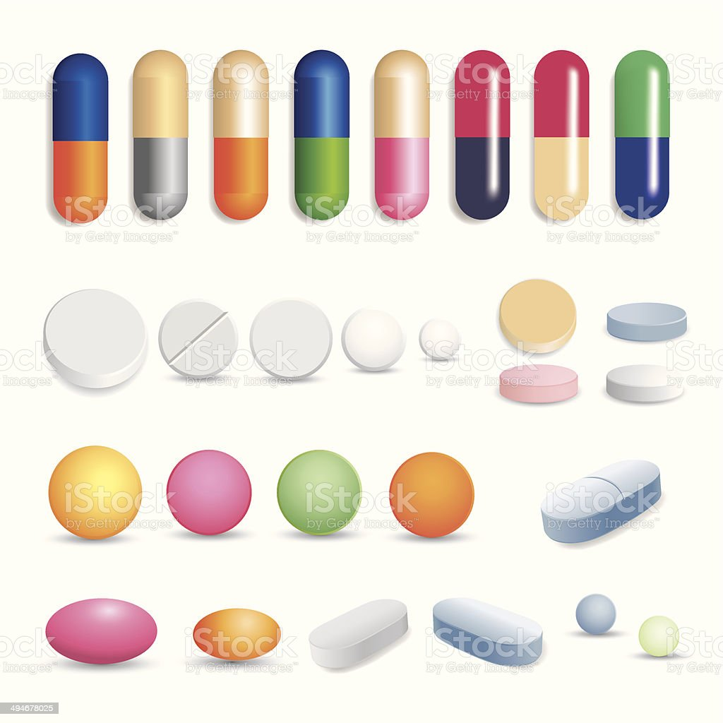 Tablets and capsules vector art illustration