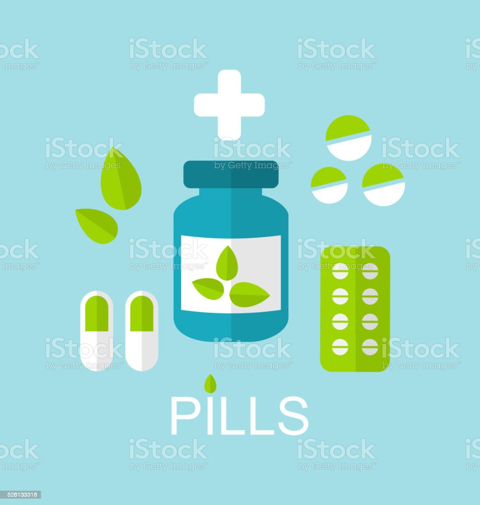 Tablets (Pills, Capsules, Drugs) and Leaves vector art illustration