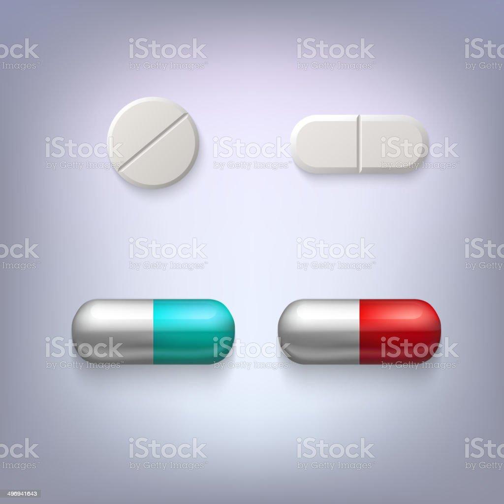 Tablets and pills vector illustration vector art illustration