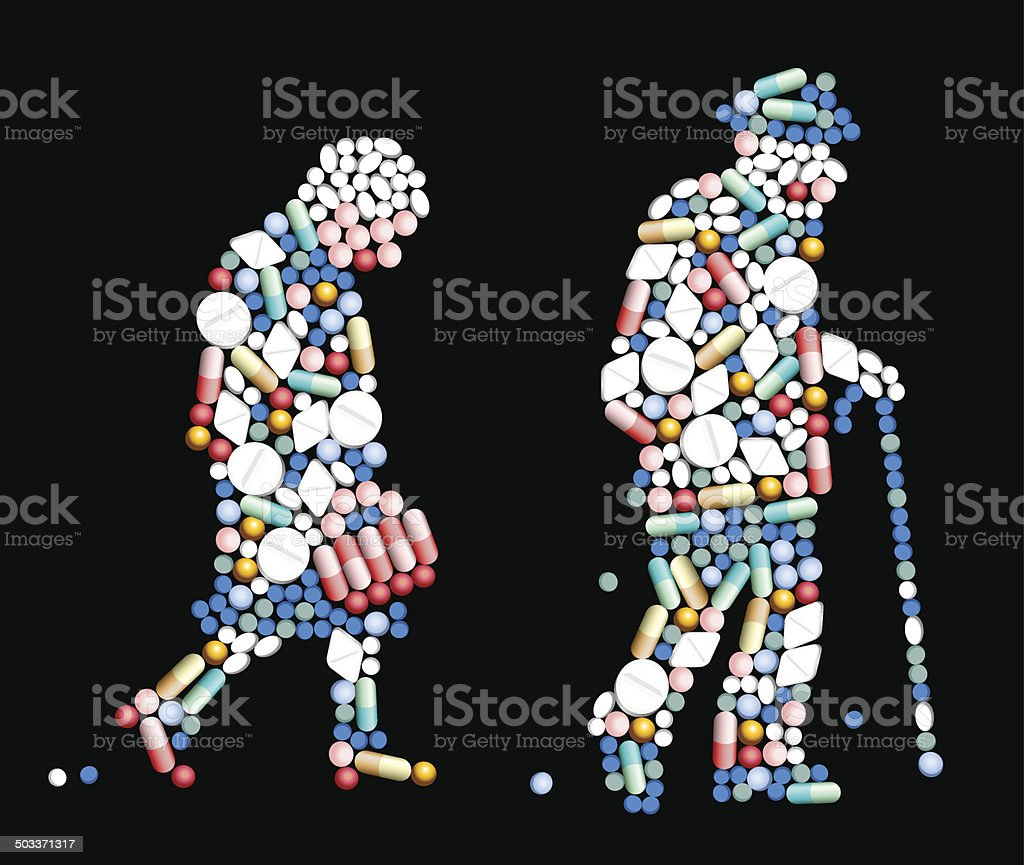 Tablets Pills Old People vector art illustration