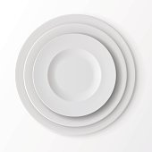 Tableware Set of White Empty Plates Top View. Table Setting