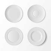 Tableware Set of White Plates Top View Isolated on Background