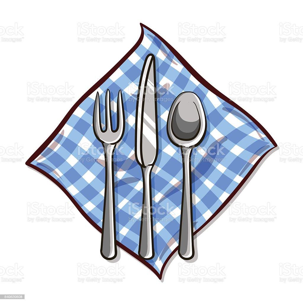 Tableware_With_Napkin vector art illustration