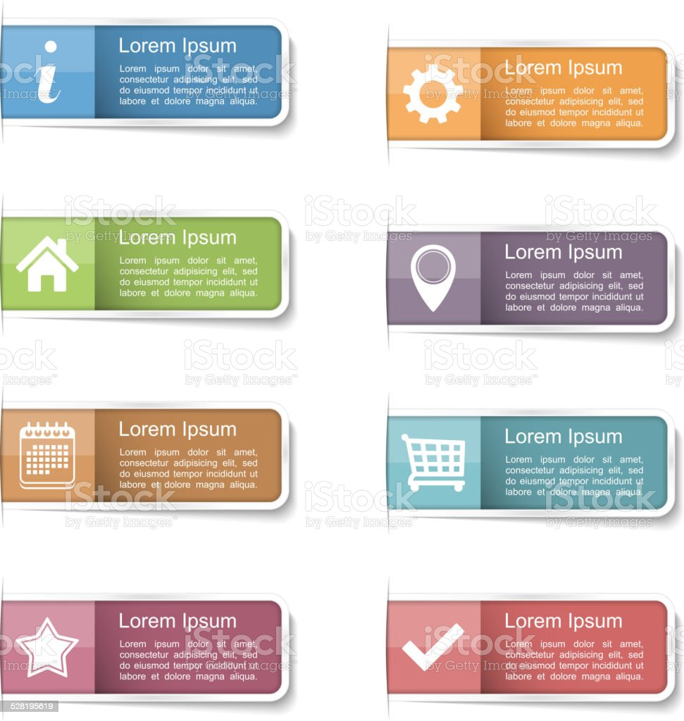 Tabs with Icons vector art illustration