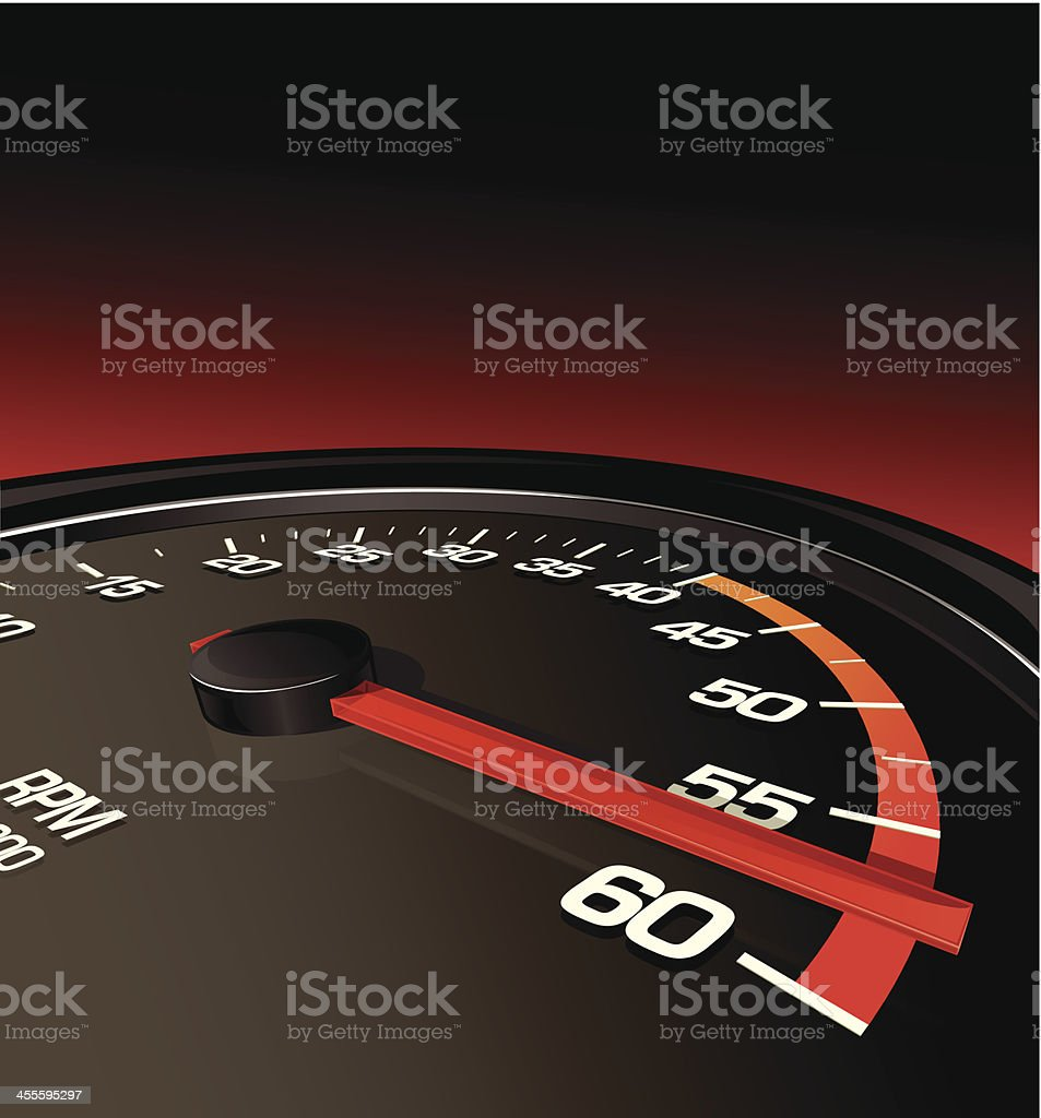 Tachometer Pushed to the Limit royalty-free stock vector art