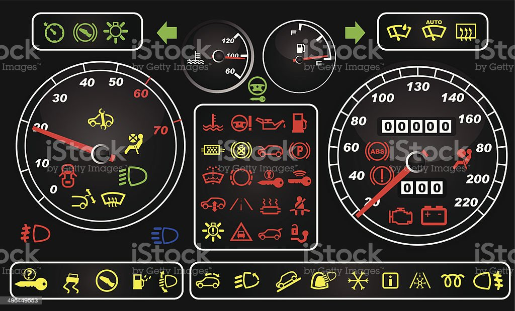 Tachometers et icônes de tableau de bord stock vecteur libres de droits libre de droits