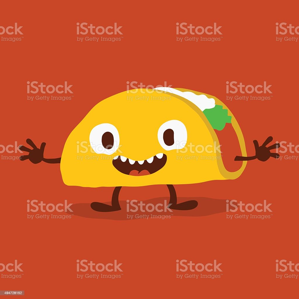 Taco Cartoon vector art illustration