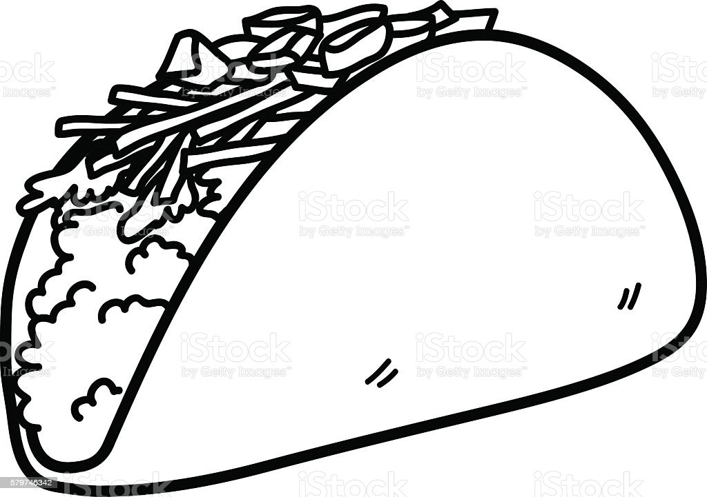 Taco mexican food doodle stock vector art 579746342 istock for Nachos coloring page
