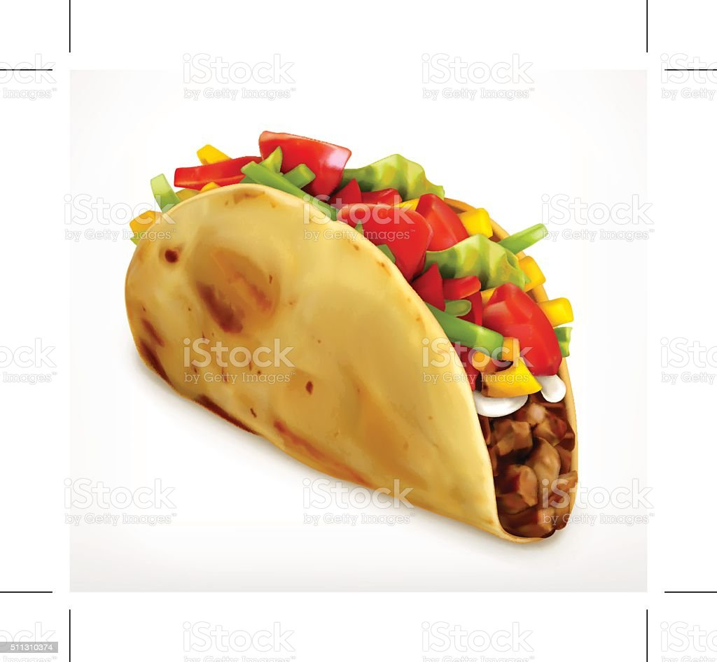 Taco, vector icon vector art illustration