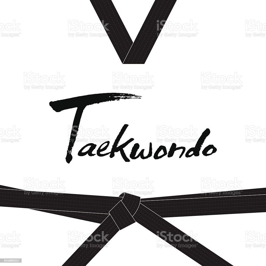 Taekwondo handwritten letter vector art illustration