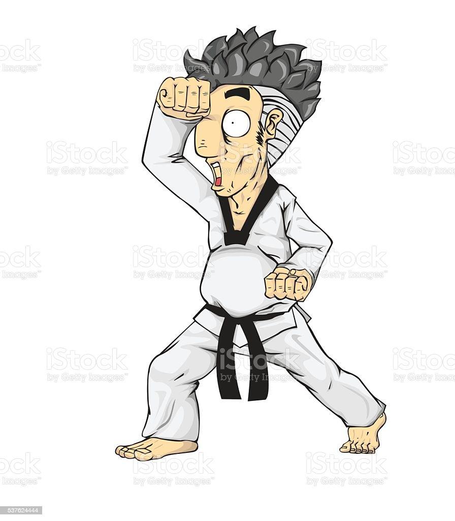 Taekwondo High Block.. Martial art vector art illustration