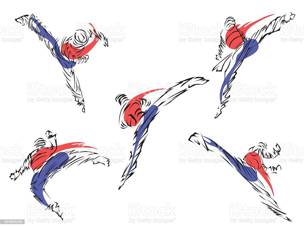 Taekwondo. Martial art vector art illustration