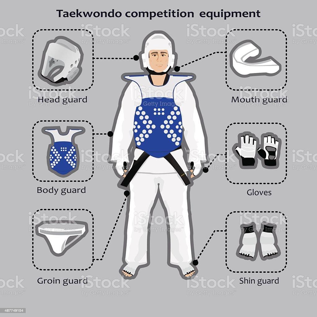 Taekwondo sport competition equipment vector art illustration