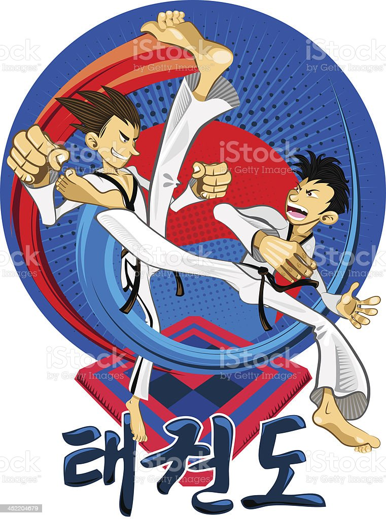 Taekwondo Tae Kwon Do Korean Martial Art royalty-free stock vector art