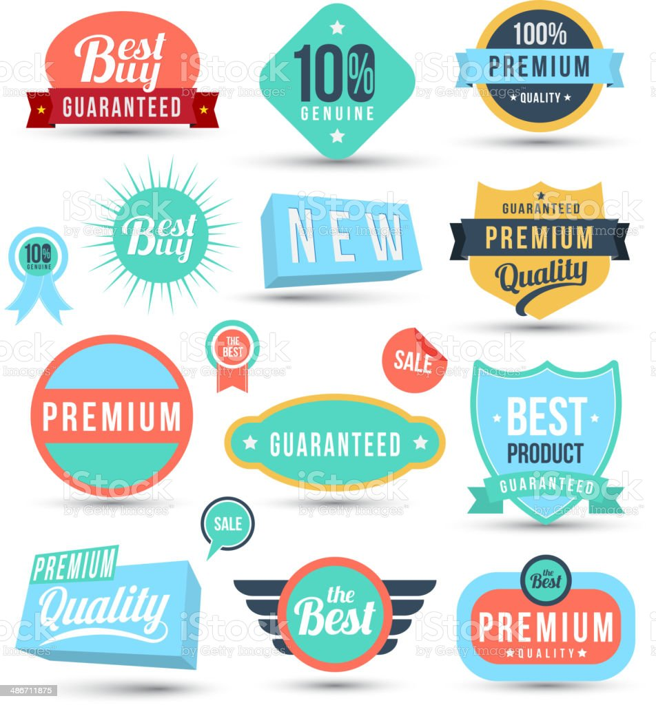 Tag label sticker color set royalty-free stock vector art