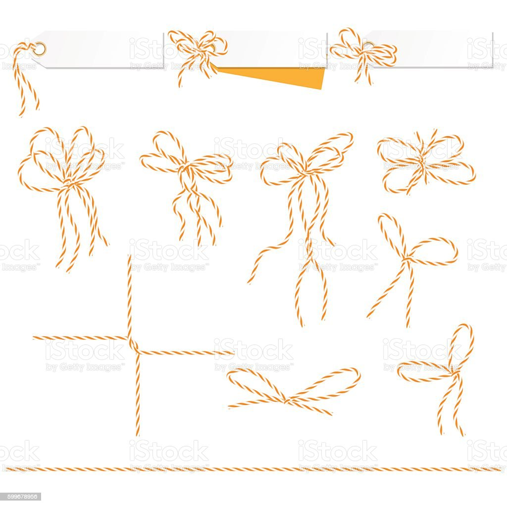 Tags and labels with bakers twine bows ribbons vector art illustration