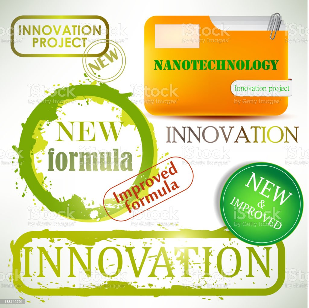 Tags and stamps 'Innovation' royalty-free stock vector art