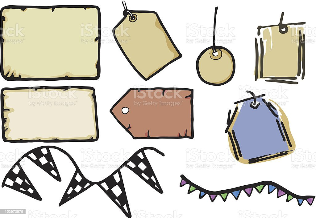 Tags, Paper and Labels royalty-free stock vector art