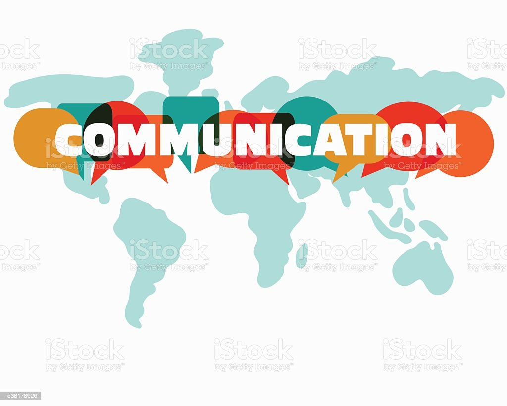 Tahe word 'communication' with colorful dialog speech bubbles vector art illustration