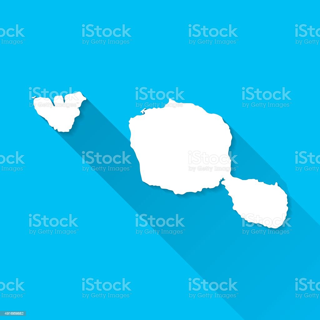Tahiti - Polynesia Map, Blue Background, Long Shadow, Flat Design vector art illustration