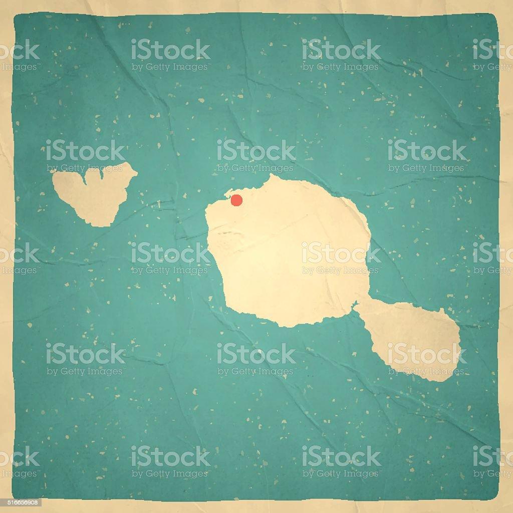 Tahiti - Polynesia Map on old paper - vintage texture vector art illustration