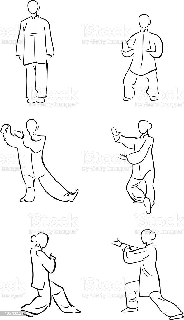 Tai Chi figures 1 royalty-free stock vector art