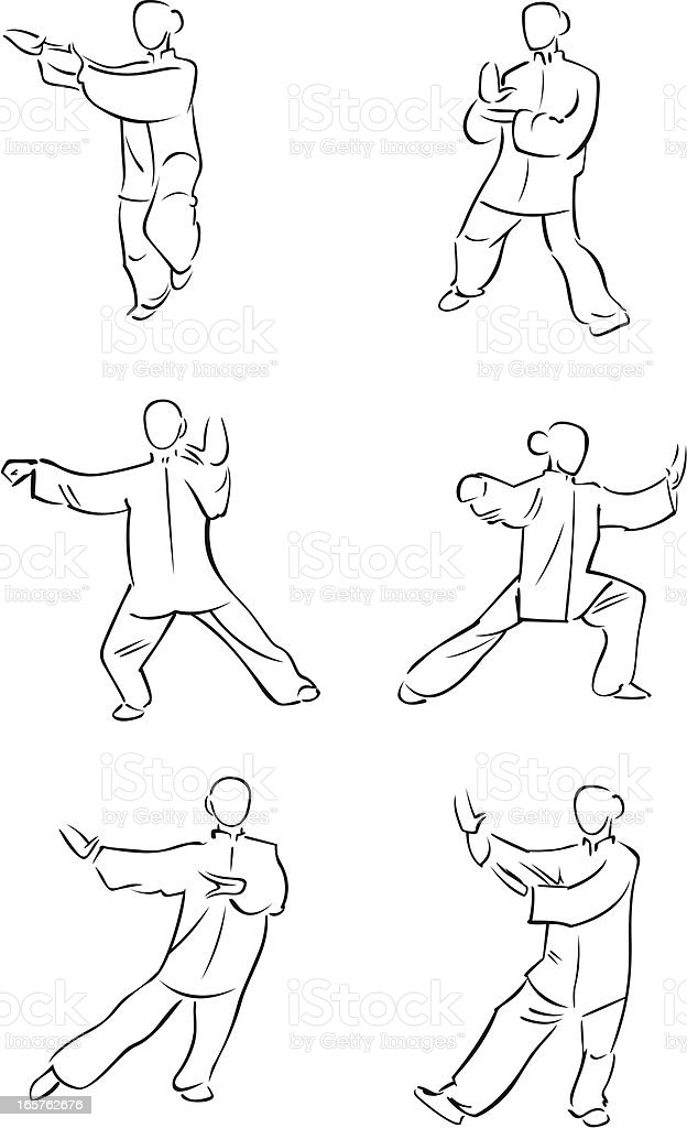 Tai chi figures 3 royalty-free stock vector art