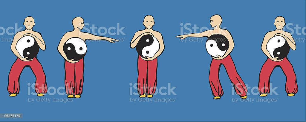 Tai Chi movement Wave Hands Like Clouds royalty-free stock vector art
