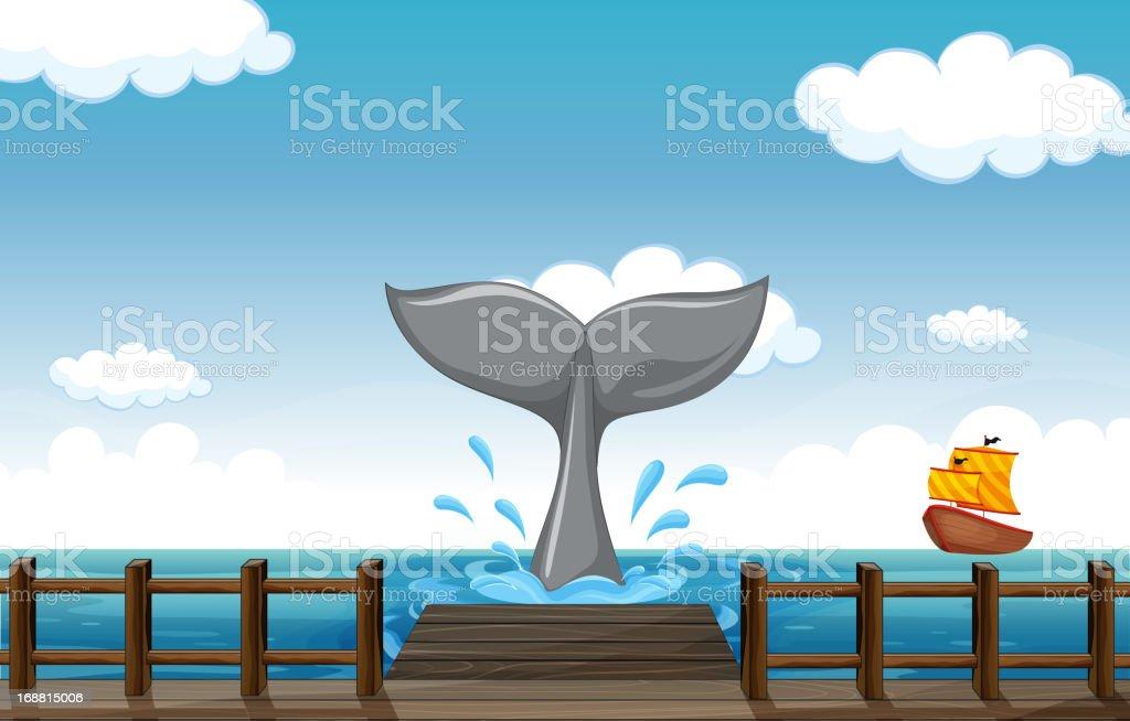 Tail of a big fish royalty-free stock vector art
