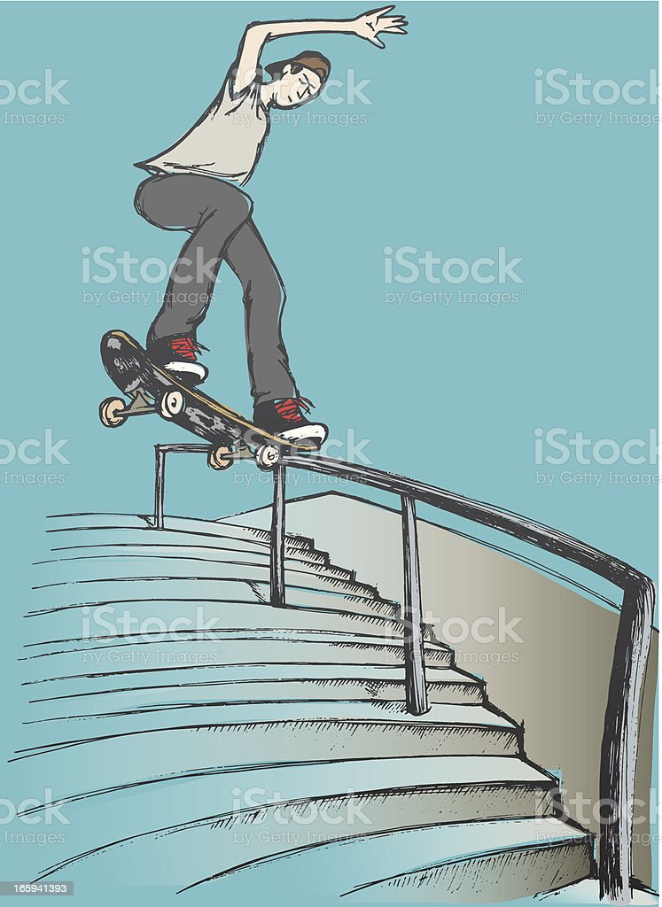 Tail slide on hand rail royalty-free stock vector art