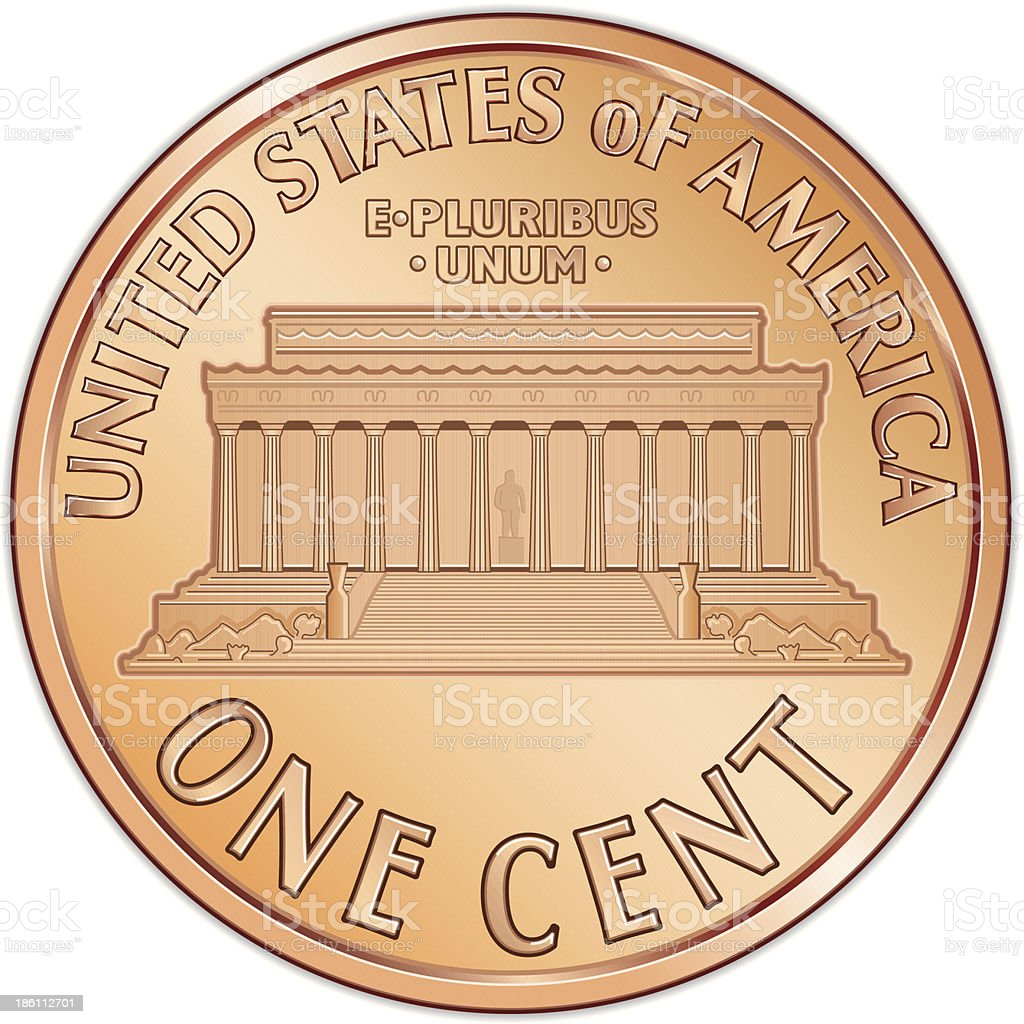 Tail view of United States penny vector art illustration