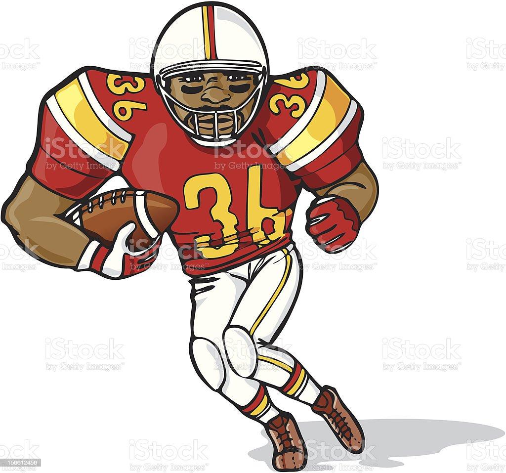 Tailback football player running vector art illustration