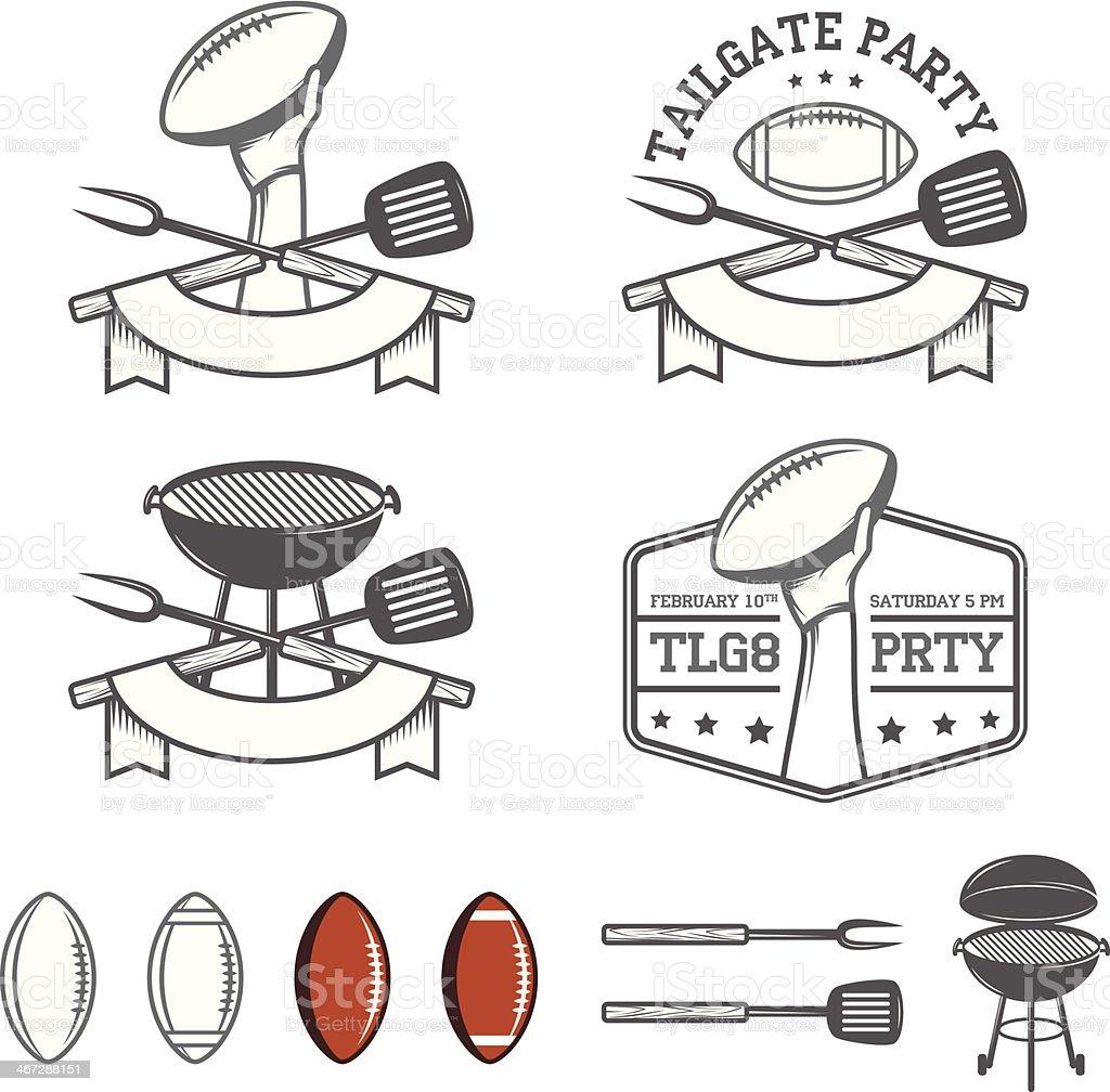 Tailgate party design elements set vector art illustration