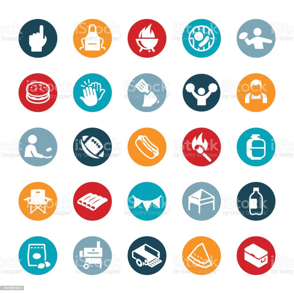 Tailgating Icons vector art illustration
