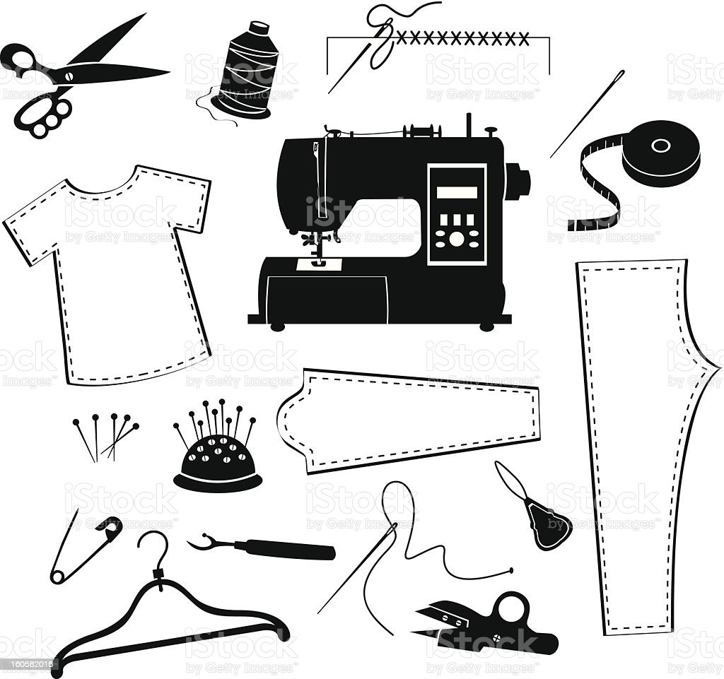 Tailor and garment industry icon set royalty-free stock vector art