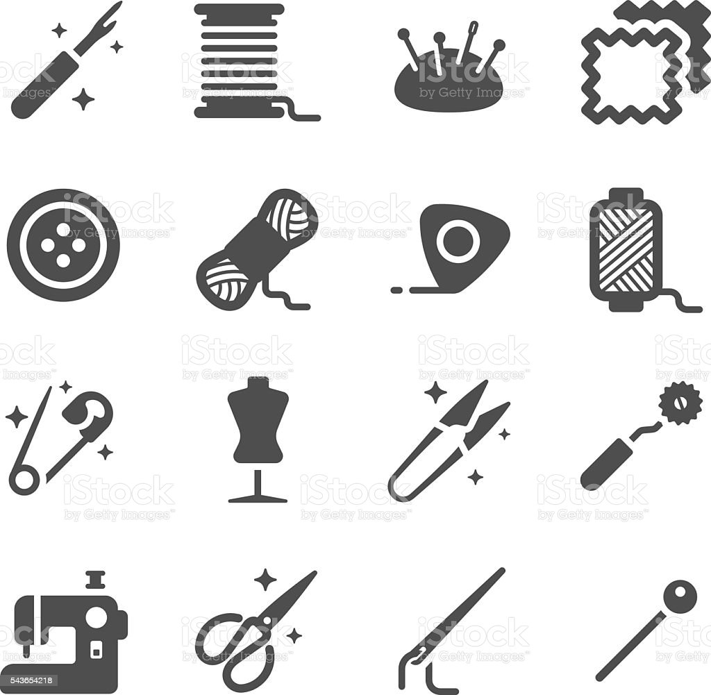 Tailor and Sewing Vector Icon Set vector art illustration