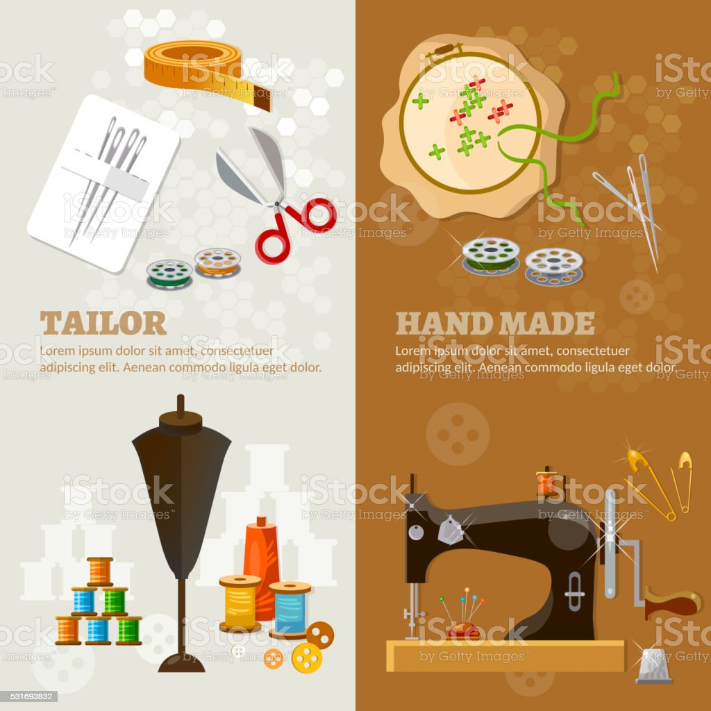 Tailor banners tailoring tools seamstress vector art illustration