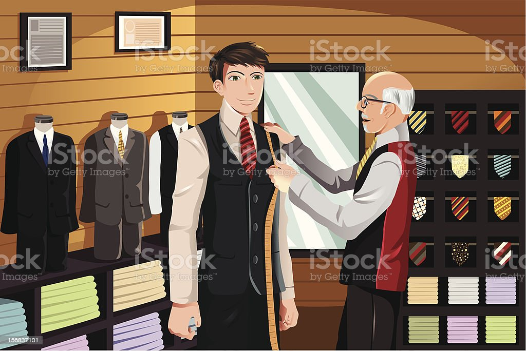 Tailor fitting for suit vector art illustration