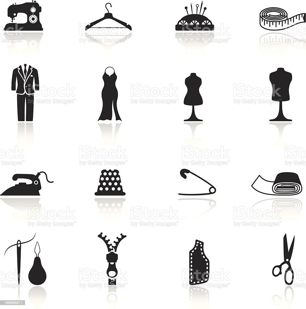 Tailor Icon Set vector art illustration